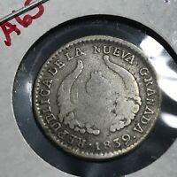 1839 COLOMBIA SILVER NUEVA GRANADA PAPAYAN 1/2 REAL SCARCE COIN