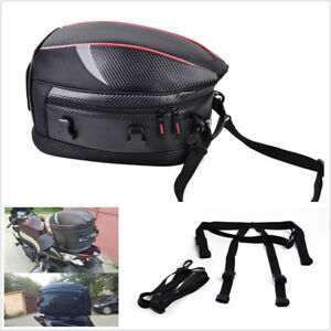 16-21L PU Leather+Carbon Fiber PVC Fabric Motorbike Tail Seat Bag Luggage Pocket