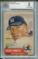 1953 Topps Baseball #82 Mickey Mantle Card Graded BVG 2 New York Yankees '53
