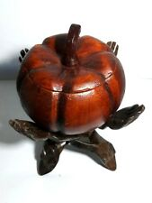 Collection Pumpkin Jar trinket box Wood Stand Hand Set