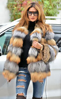 100% Real Red & Silver Fox Fur Coat Fashion Jacket Outwear Winter Womens