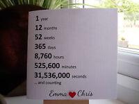 Handmade Personalised 1st Year Anniversary Card ANY YEAR Husband Wife etc