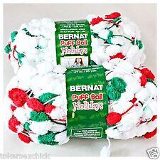 1 Skein Bernat PUFF BALL HOLIDAYS HOOPLA YARN White Red & Green Scarf TREE TRIM