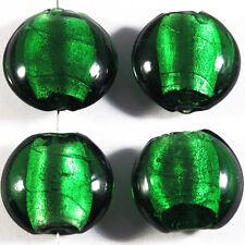 Set of 4 glass beads Sheet Silver Pebble 20mm Green