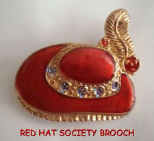 RED HAT SOCIETY ENAMEL AND SPARKLE BROOCH PIN RETRO