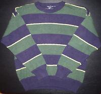 Nautica Sweater Pullover XL Green Navy Yellow Striped Diamond Weave c1605