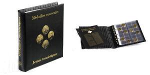 ALBUM OPTIMA LEUCHTTURM pour 120 médailles Ø34mm Monnaie de Paris, Arthus,...