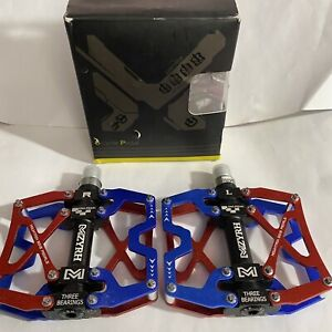 MZYRH Bicycle Pedal MZ-Y06 Mountain 3 Bearings Wide High Strength Red/Blue