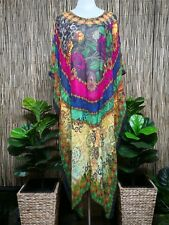 Plus Size Long Floral Sheer Embellished Kaftan Digital Printed Size 20-22-24-26
