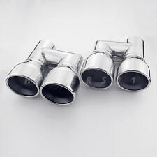 """Dual 3.5"""" Out Dual Wall Stainless Resonated Exhaust Tips for Audi A3 A4 A5 A6 A7"""