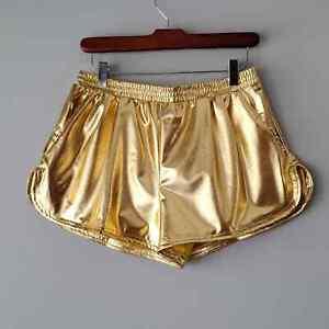 Kepblom Shiny Gold High Waisted Short Shorts Womens XL