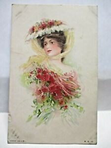 1908 POSTCARD PRETTY VICTORIAN LADY WITH ROSES