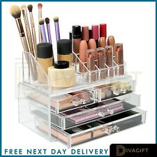 Cosmetic Organiser Clear Acrylic with Drawers Makeup Jewelry Display Box Case