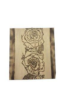 Rose Flower Pyrography Art Wood Burn Handmade