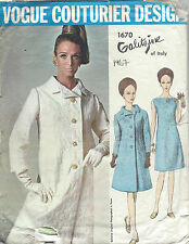 1967 Vintage VOGUE Sewing Pattern B34 COAT & DRESS (1340R) By IRENE GALITZINE