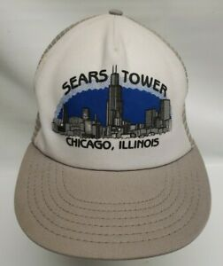 Vintage Sears Tower Chicago Mesh Snapback Trucker Hat Made in USA *Rare*