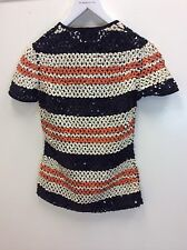 Gaultier Maille Vintage Sequin Netting Stretchy Elastic Striped Shirt Size 42