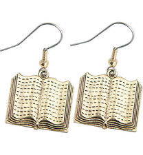 Book Charm Earrings Gold great teacher gift pewter open book charms USA-made