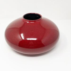 Pier 1 Amano By Scheurich Germany Red/Burgundy Round Squat Vase Art Deco Modern