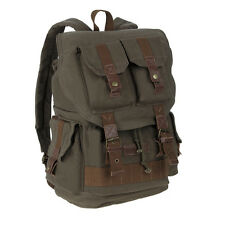 Vintage Canvas DSLR Camera Bag Lenses Insert Case Travel Backpack with Raincover
