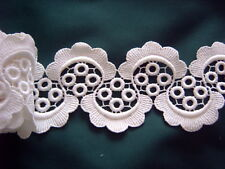 > Vintage Trim - White Cotton - Guipure Lace - 7 cms Wide x 330 cms [D]
