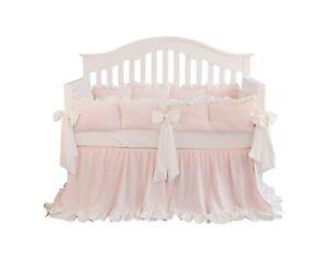 Blush Coral Pink Ruffle Crib Bedding Set Baby Girl Bedding Blanket Nursery Cr...