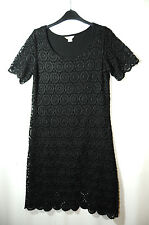 BLACK FLORAL LADIES PARTY EVENING COCKTAIL LACE SIZE 12 MONSOON FULLY LINED