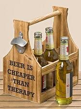 """Flaschenhalter & Flaschenkorb """"Larry"""" Beer is .. inkl. Flaschenöffner mit Spruch"""
