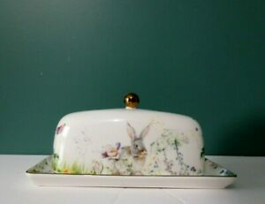 """NEW Rare FLORAL MEADOWS Butter Dish w/ Gold Accents by WILLIAMS-SONOMA - 8"""" x 4"""""""