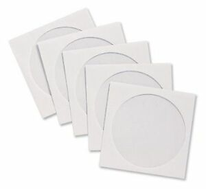 25 x High Grade White CD/DVD/ Blu-ray Paper Sleeve Envelopes with Clear Window