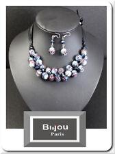Set 2 Tlg Perlenkette Ohrringe  Kette Collier Glasperlen Porzellan Paris Satin