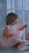 "BABY~ CROCHET DRESS AND ~ SHOES 3 PLY CROCHET PATTERN CHEST 18-21"" (FAIRYTALES)"
