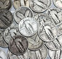 Standing Liberty Quarter 90% SILVER-20 Coin Lot-Half Roll-Readable Dates/Mints