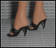 Shoes Mattel Barbie Doll Dotw Parisian France Black Mules Sandals Accessory