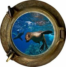 Huge 3D Porthole Seal Under Sea View Wall Stickers Film Art Decal Wallpaper 477