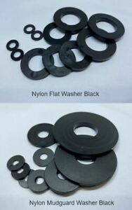 M4 M5 M6 M8 M10 M12 M16 M20 Nylon Black UV Stable Flat / Mudguard Washer