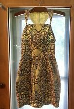 FISH FRY ANTHROPOLOGIE Inked Paradise Wiggle dress sz XS Cotton yellow and gray