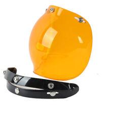 Open Face Retro Vintage Motorcycle Helmets 3-Snap Bubble Shield Glasses Visor