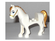 Lego White Horse 41146 with Face Decoration,Gold Mane and Tail Minifigure