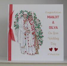 Asian Hindu Muslim Wedding Day Card  8x8 inch Size Personalised Handmade