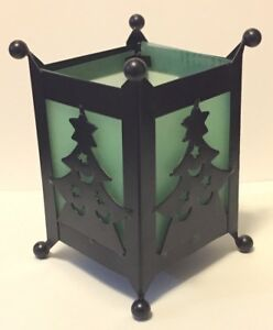 decorated CHRISTMAS TREE tea light candle holder black metal green glass India