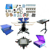 TechTongda Screen Printing Kit for Commercial 6 Color 6 Station with Materials