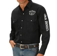 Jack-Daniels Western Men's Black Rodeo Shirt Long Sleeve Authorized Retailer