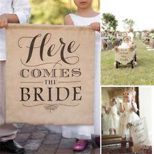 1pc Jute Fabric Shabby Wedding Decor Banner Bride Khaki Here Comes The Bride P&T