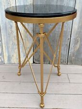 Vintage French Campaign Directoire Black Granite & Gilt Metal Gueridon Table