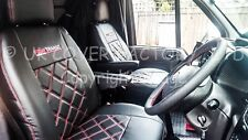 1+1  VW TRANSPORTER T5 T28 T30 T32 VAN SEAT COVERS  RED BENTLEY STITCH X150BK-RD
