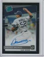 2020 DONRUSS OPTIC RATED ROOKIE AUTOGRAPH BLACK PRIZM Andres Munoz Padres #29/50