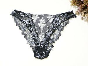 Women Sexy Briefs Satin&Floral embroidery Underwear high cut Panties Black XS-M