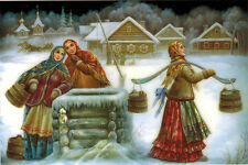 COUNTRY GIRLS AT THE WELL Modern Russian card Fedoskino Art