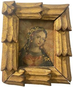Devotional Madonna - Virgin Mary - 18th century Colonial Spanish oil painting